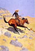 Western Western Art Prints - The Cowboy Print by Fredrick Remington