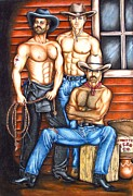 Homoerotic Drawings Framed Prints - The Cowboy Way Framed Print by Joseph Sonday