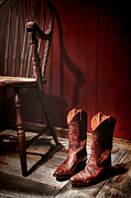 Country Cowgirl Framed Prints - The Cowgirl Boots and the Old Chair Framed Print by Olivier Le Queinec