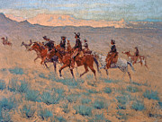 Prairie Sunset Paintings - The Cowpunchers by Frederic Remington