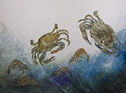 Callinectes Sapidus Prints - The Crabby Couple Print by Nancy Gorr