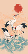Art Scroll Framed Prints - The Cranes Framed Print by Budi Satria Kwan