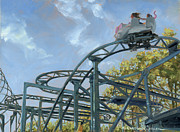 Roller Coaster Painting Posters - The Crazy Mouse Poster by Marguerite Chadwick-Juner