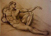 Part Of Drawings - The Creation of Adam by A Hwais