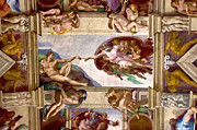 Michelangelo Framed Prints - The Creation of Adam Framed Print by Walt  Baker