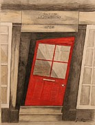 Landmark Drawings - The crooked door by Joyce  Lawhorn