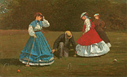Sport Paintings - The croquet game by Winslow Homer