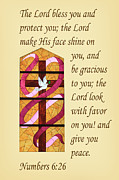 Bible Photo Posters - The Cross in Stained Glass Numbers  6v26 Poster by Linda Phelps