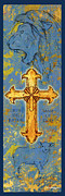 Religious Art Mixed Media Prints - The Cross Lion and Lamb  Print by William Depaula