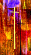 Abstract Expressionism Digital Art Framed Prints - The Cross Framed Print by Paul St George