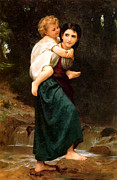 The Mother Digital Art Prints - The Crossing of the Ford Print by William Bouguereau