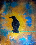 Crows Paintings - The Crow by Lindsey MacKay