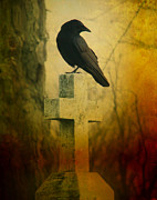 Rustic Colors Posters - The Crows Cross Poster by Gothicolors And Crows
