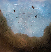 Crows Paintings - The crows by Sergey Bezhinets