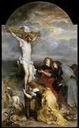 Religious Jesus On Cross Framed Prints - The Crucifixion Framed Print by Anthony Van Dyke