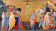 Passion Metal Prints - The Crucifixion Metal Print by Master of the Madonna of San Pietro of Ovila