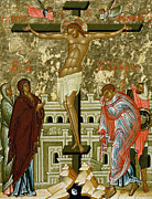 Catholic Icon Painting Framed Prints - The Crucifixion of Our Lord Framed Print by Novgorod School