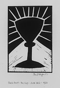 Lino Cut Metal Prints - The Cup Metal Print by Barbara St Jean