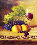 Contemporary Symbolist Painting Prints - The cup of vine and fruits Print by Sergey Malkov