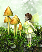 Toadstools Digital Art Framed Prints - The Curious Fairy Framed Print by Jayne Wilson