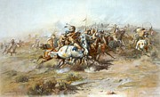 Bulls Metal Prints - The Custer Fight Metal Print by Charles Russell
