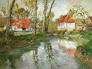 Village Paintings - The Dairy at Quimperle by Fritz Thaulow