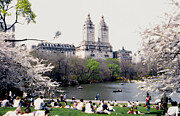 Abstract Impressionism Digital Art Prints - The Dakota from Central Park Print by Linda  Parker