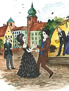 School Houses Painting Posters - The Dance Poster by Margaryta Yermolayeva