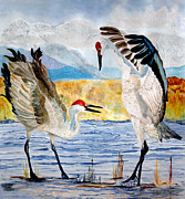 Silk Paintings - The Dance - Sandhill Cranes by Anderson R Moore