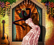 Spanish Guitar Posters - The Dancer V1 Poster by Bedros Awak