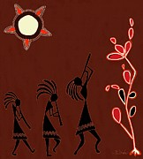Hopi Indian Paintings - The Dancers by Barbara Drake