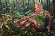 Faun Paintings - The Dappled Glade by Justin Lewis