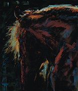Horse Pastels Posters - The Dark Horse Poster by Frances Marino