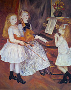 Little Girl Digital Art Prints - The Daughters of Catulle Mendes Print by Pierre Auguste Renoir