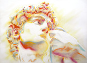Michelangelo Drawings Prints - THE DAVID by Michelangelo. Tribute Print by Juan Jose Espinoza