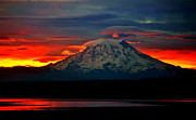 Pacific Northwest Framed Prints - The Dawn of Rainier Framed Print by Benjamin Yeager