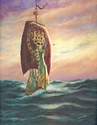 Catherine White Painting Metal Prints - The Dawn Treader - Riding the Waves Metal Print by Catherine Howard