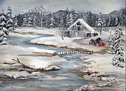 Snow On Barn Posters - The Day After Christmas Plus a Childrens Story Poster by Meldra Driscoll