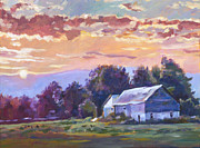 Serene Landscape Painting Originals - The Day Ends   by David Lloyd Glover