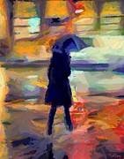 Cities Painting Posters - The day for an umbrella Poster by Dragica  Micki Fortuna