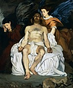 Drapery Framed Prints - The dead Christ and angels Framed Print by Edouard Manet