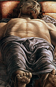 Drapery Posters - The Dead Christ Poster by Andrea Mantegna