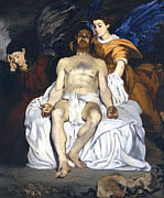 Christ Images Posters - The Dead Christ With Angels Poster by Edouard Manet