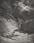 Dark Drawings Posters - The Death of Abel Poster by Gustave Dore