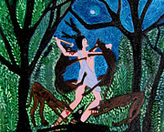 Serfinski Painting Originals - The death of Actaeon by Karen Serfinski