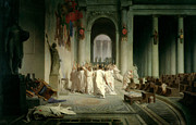 Historic Statue Painting Framed Prints - The Death of Caesar Framed Print by Jean Leon Gerome