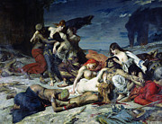 Distraught Painting Prints - The Death of Ravana Print by Fernand Cormon