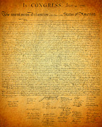 .freedom Mixed Media Metal Prints - The Declaration of Independence - Americas Founding Document Metal Print by Design Turnpike