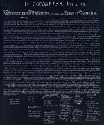 The Declaration Of Independence In Negative  Print by Rob Hans