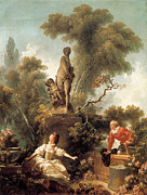 Honore Posters - The Declaration of Love Poster by Jean-Honore Fragonard